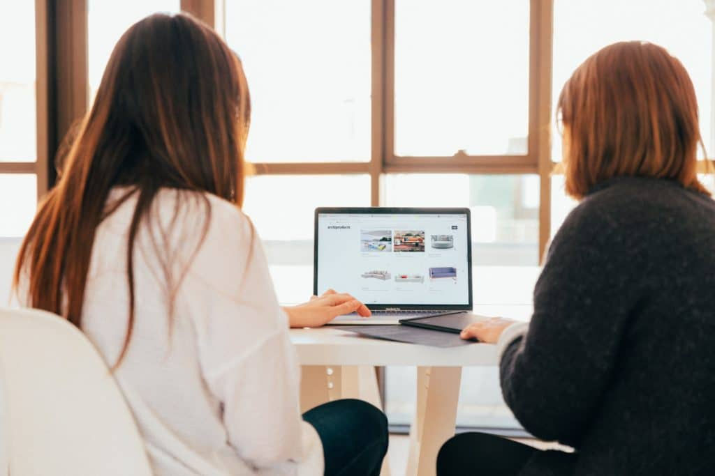 website design company image showing two women with their backs on the camera looking at a minimalist website on a laptop