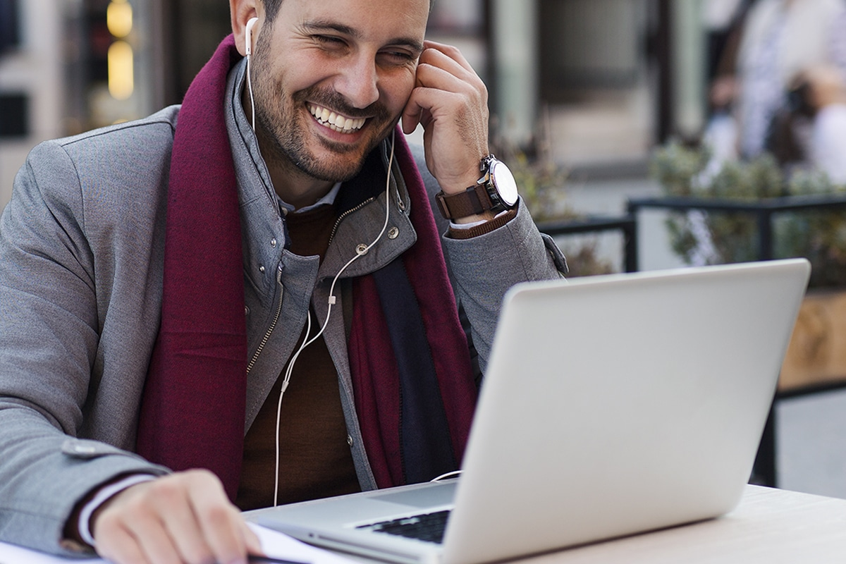 Happy Man On Computer