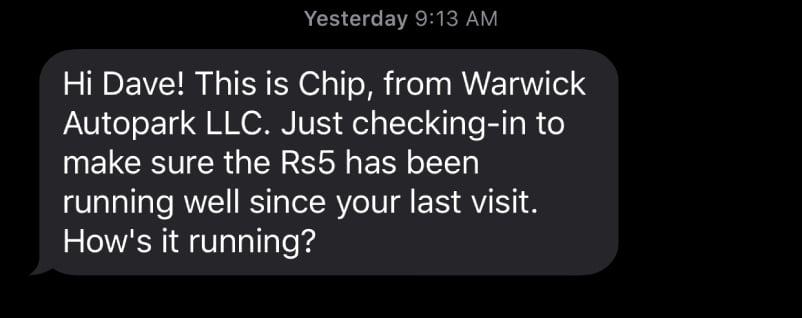 Warwick Auto Park - SMS - Conklin Media
