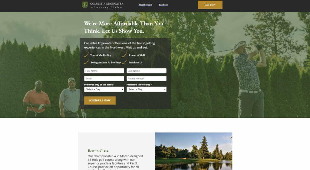 Columbia Edgewater Landing Page Example