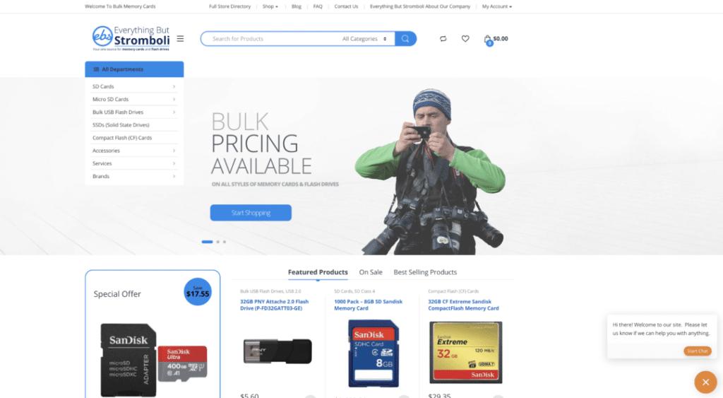Bulk Memory Cards Homepage Example