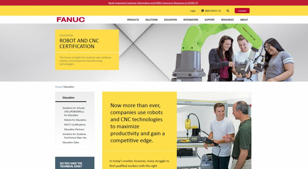 Fanuc America Eduction Page Example