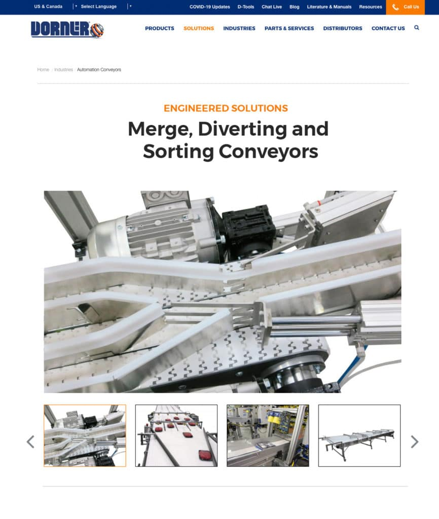 Dorner Conveyors Merge, Diverting, Sorting Conveyors Page Example