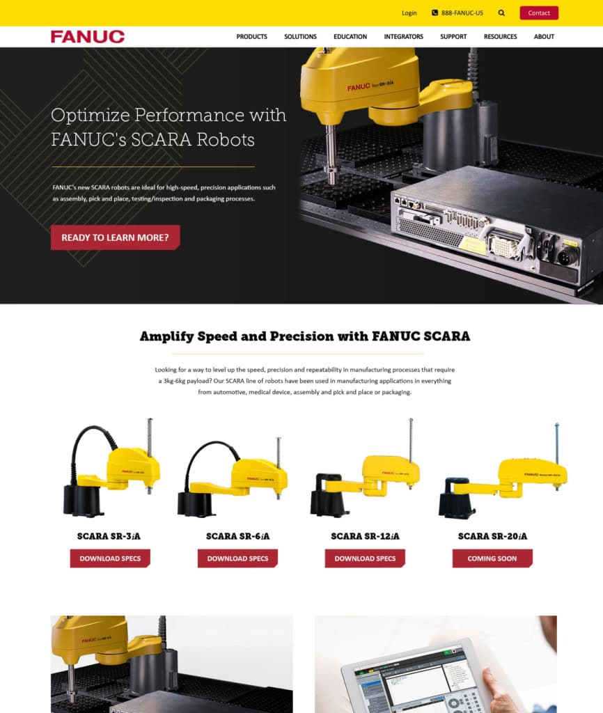 FANUC America Internal Page Example