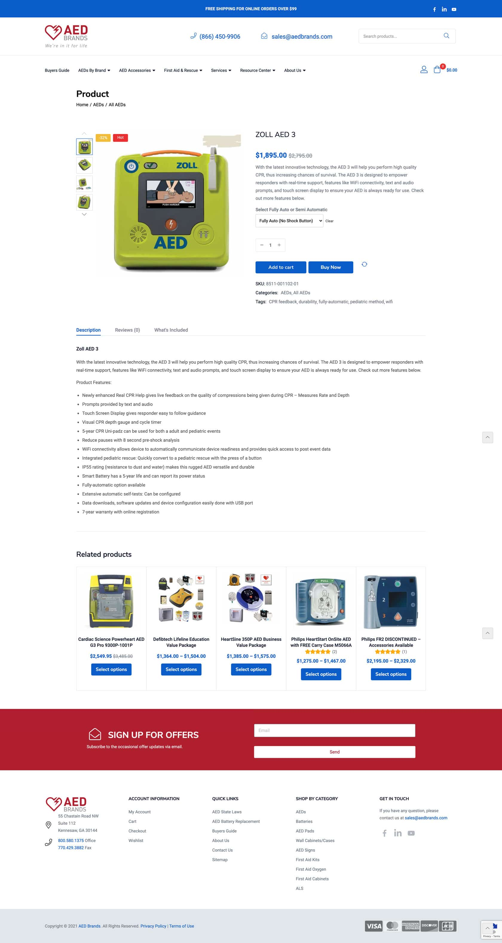 AED Product Page Design Example