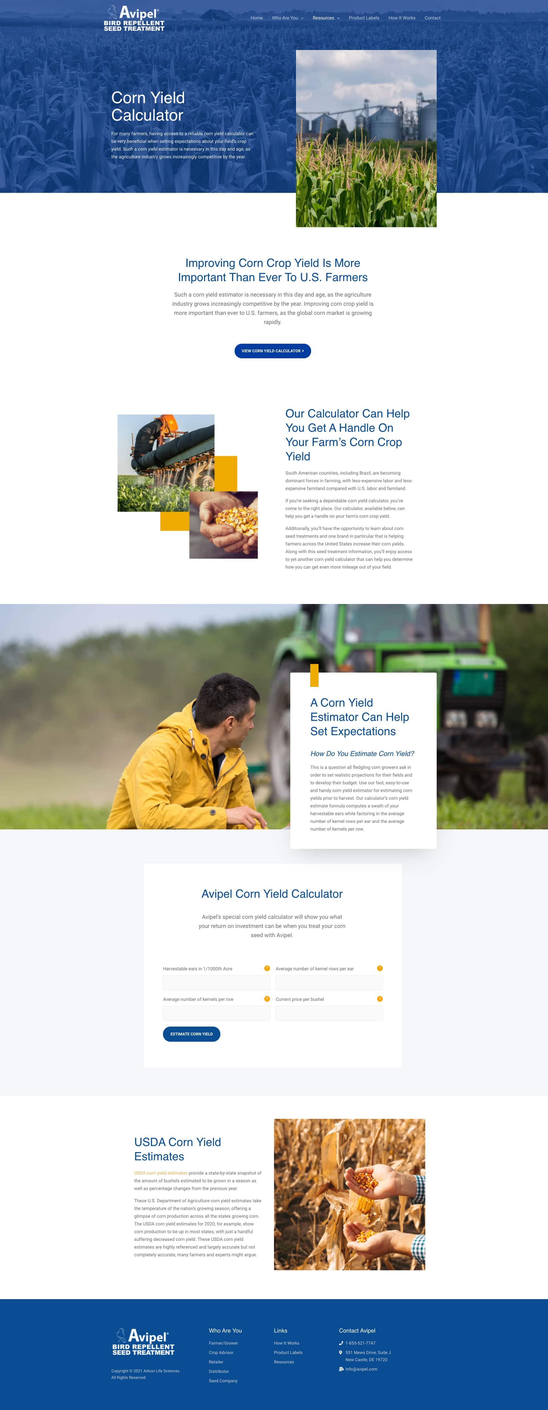 Avipel Corn Yield Calculator Full Page