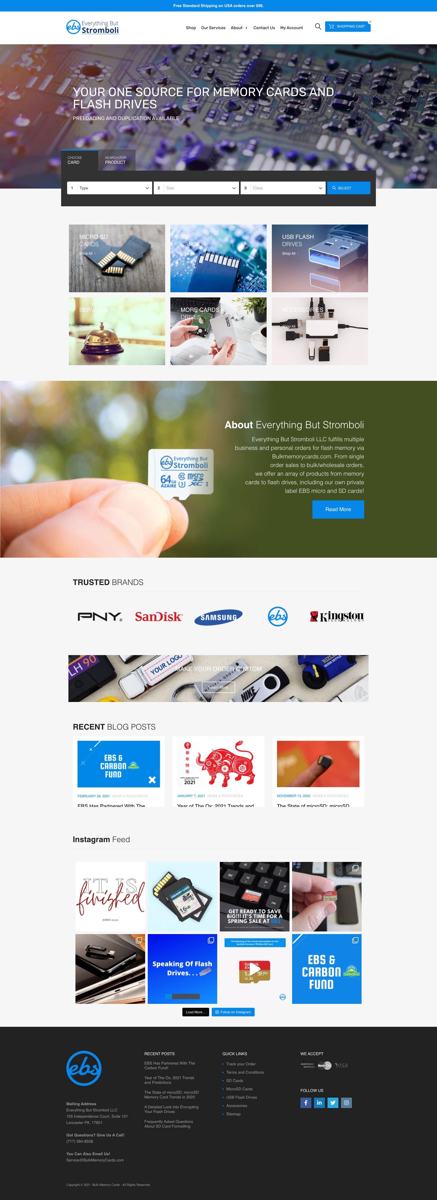 Bulkmemorycards.com Homepage Full