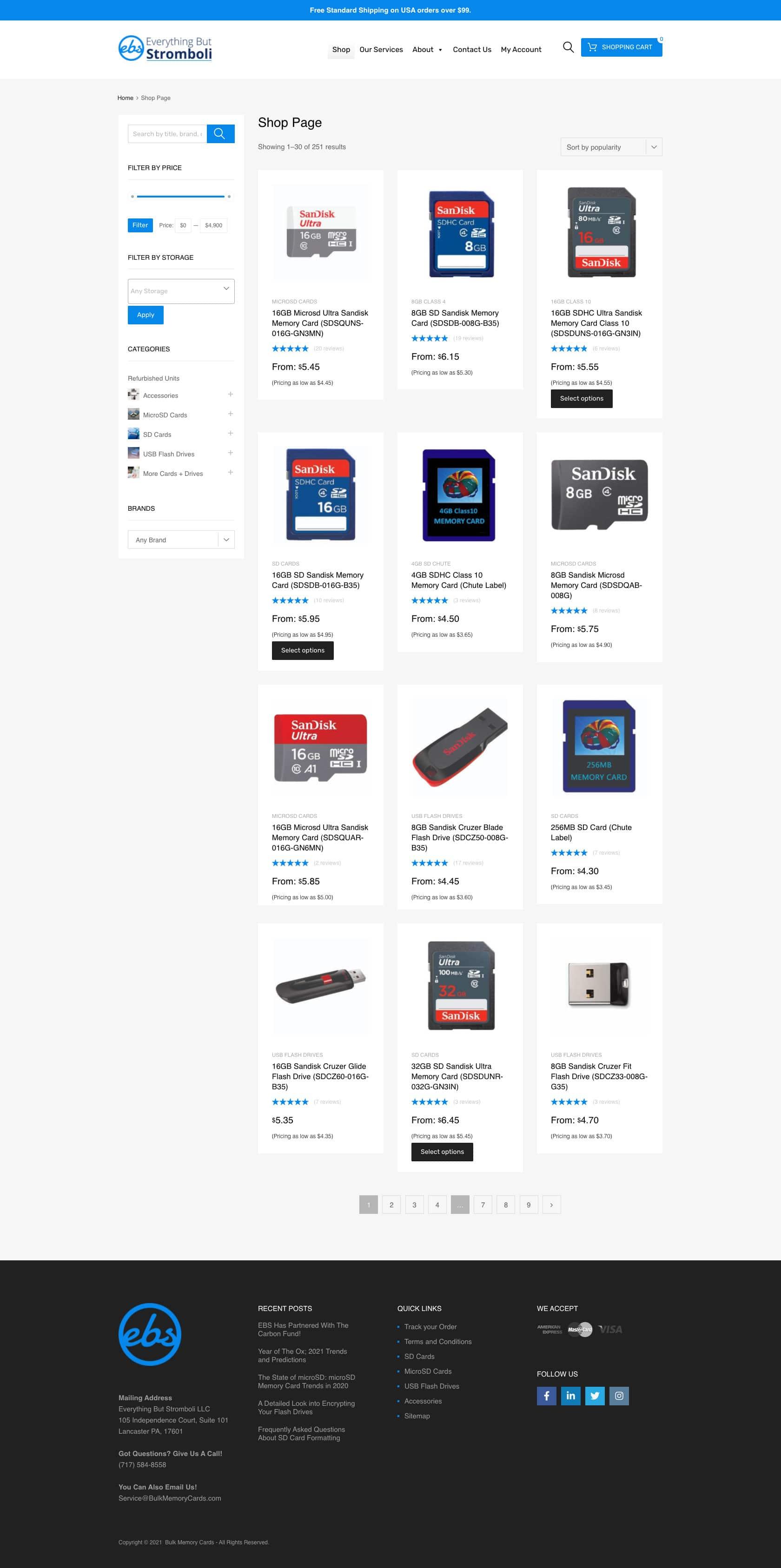 Bulkmemorycards.com Category Page