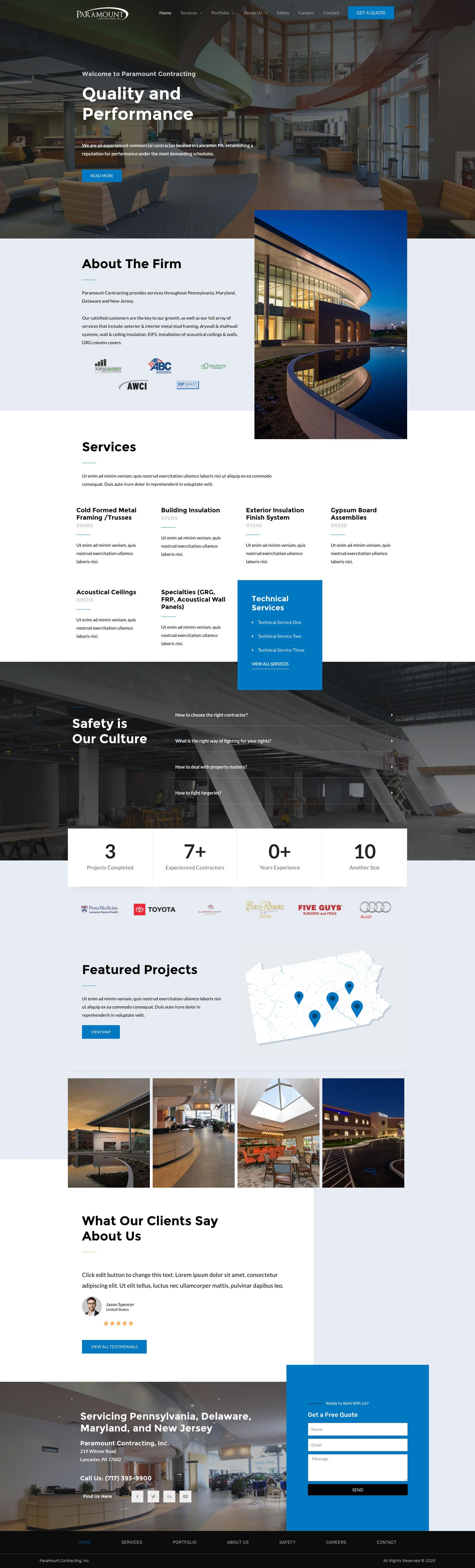 Paramount Construction Home Page Example