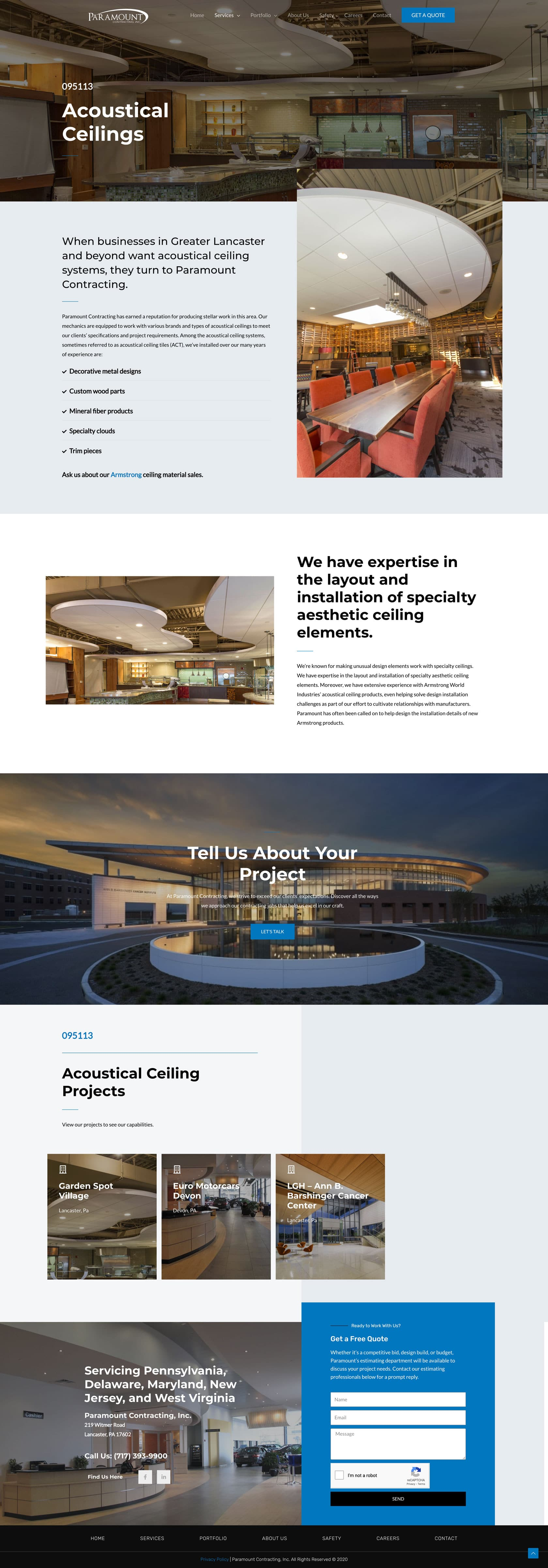 Paramount Construction Internal Page Example