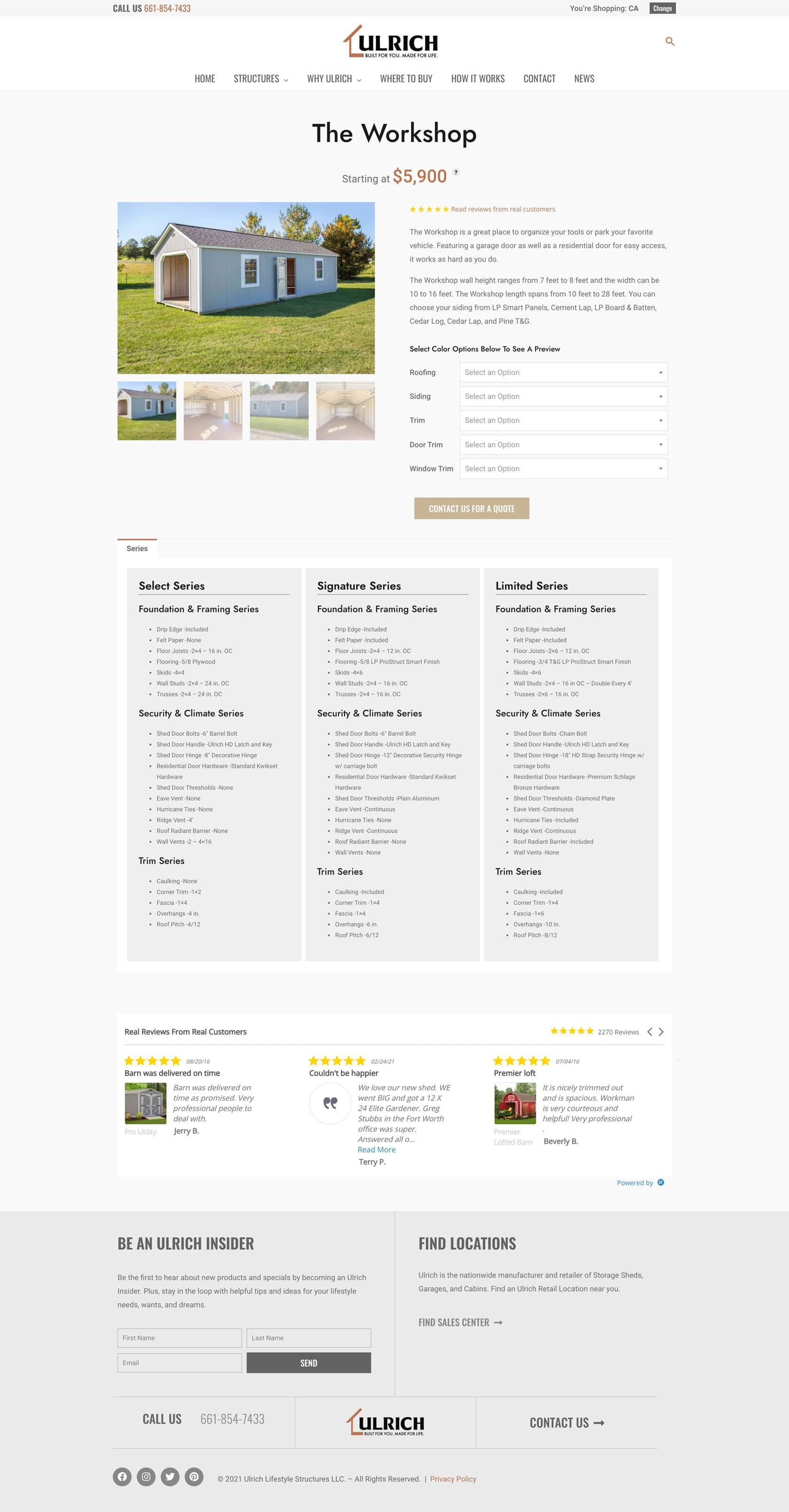 Ulrich Product Page Screenshot